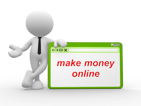 3d people - man, people with a browser window and text make money online
