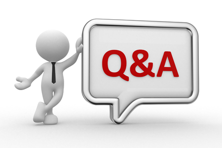 3d people - man, person with a speech bubble. Q&A - question and answer