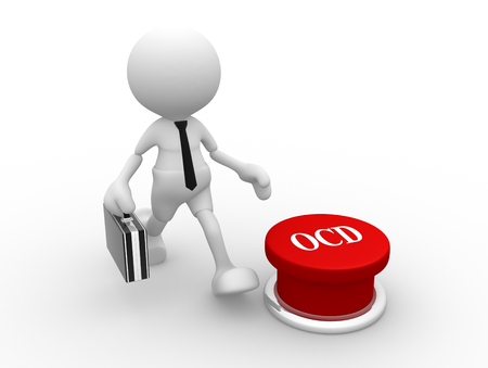 3d people - man, person  and  a red button. OCD ( Obsessive compulsive disorder )