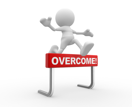 overcome a challenge: 3D people - man, person jumping over an obstacle or overcome! Stock Photo