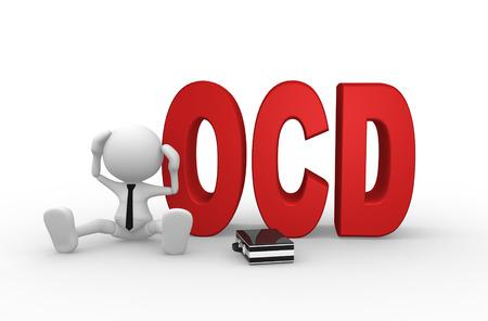 3d человек - мужчина, человек, сидящий с красным текстом OCD или обсессивно симптомы тревоги компульсивное расстройство концепции