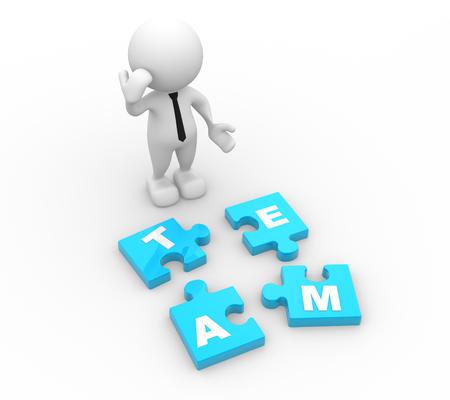 3d человек - человек, человек и куски головоломки. концепция команды