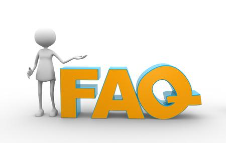 3d женщин и слово FAQ (часто задаваемые вопросы).