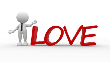 3D-Menschen - ein Mann, Person und Wort Liebe