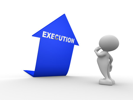 execution: 3d people - man, person and blue arrow. Execution