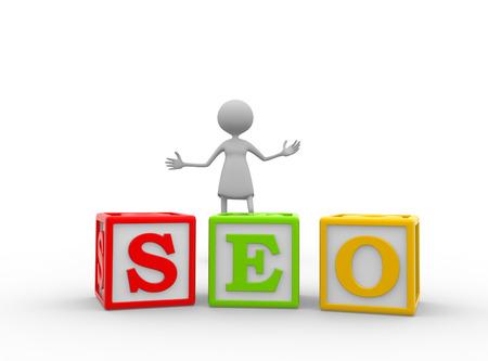 3d women - female  with color cubes. SEO concept - Search Engine Optimization. Standard-Bild