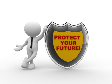 protection plan: 3d people - man, person with shield and text protect your future