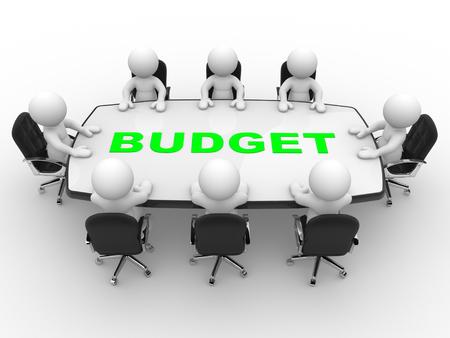3D-Menschen - ein Mann, Person am Konferenztisch. Budget