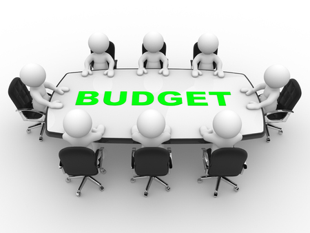 stockholder: 3d people - man, person at conference table. Budget