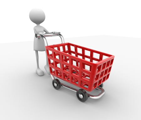 3d women and shopping car