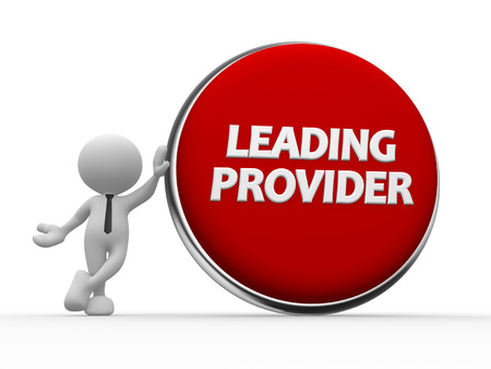provider: 3d people - man, person and big button. Leading provider