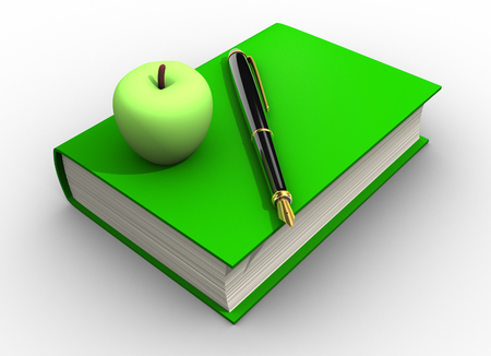3d render Pen and a green apple on a book.