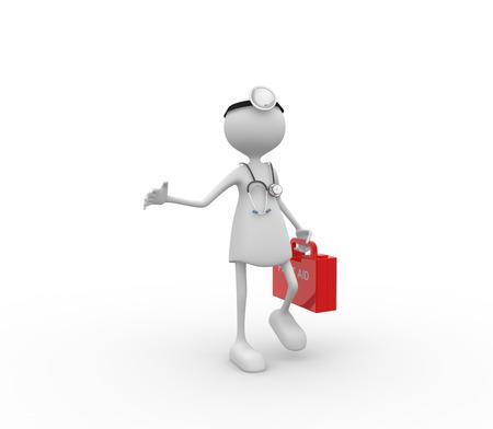 3d женщин врач с стетоскоп и оказания первой медицинской помощи