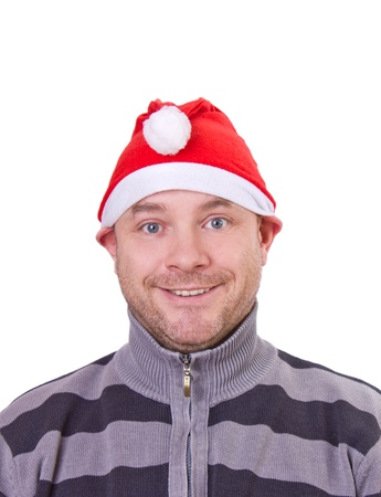 mensch: Crazy man on Christmas with red cap.