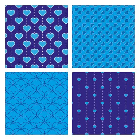 four blue samless pattern with hearts  Illustration