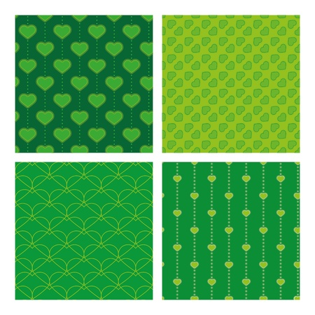 abstrakt: four green samless pattern with hearts