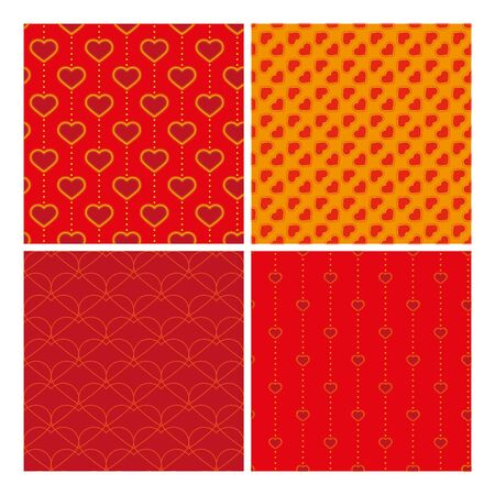 muster: four red and yellow samless pattern with hearts