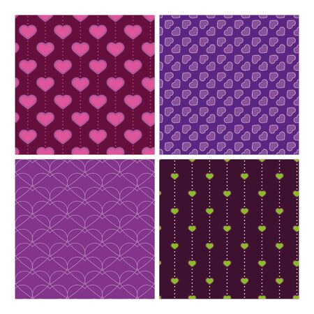 lila: four purple samless pattern with hearts