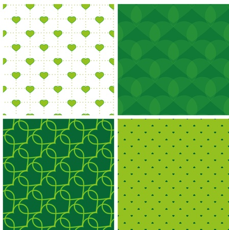 four green samless pattern with hearts