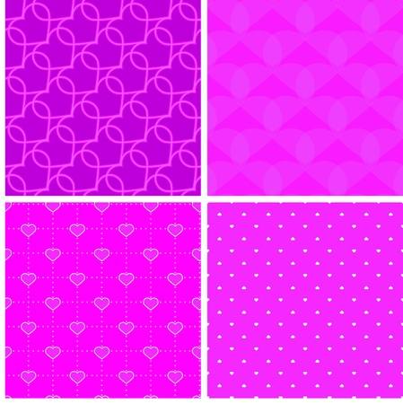 dekor: four pink samless pattern with hearts  Illustration