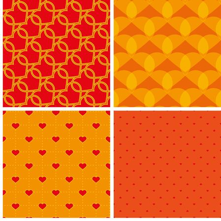 abstrakt: four red and yellow samless pattern with hearts
