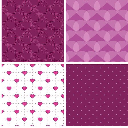 dekor: four purple samless pattern with hearts