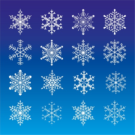 Set of 16 snowflakes on blue backgrond