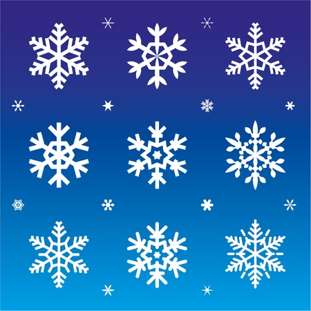 dekor: Set of 21 snowflakes on blue backgrond