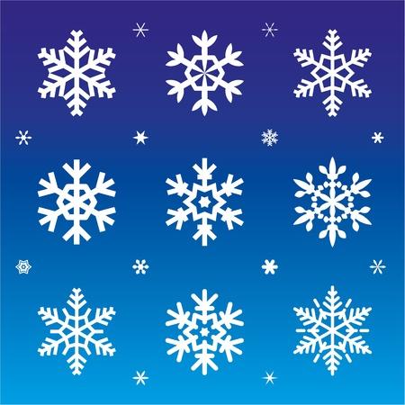 dekor: Set of 21 snowflakes on blue backgrond