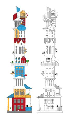 architectural styles: Tower of different architectural styles Illustration