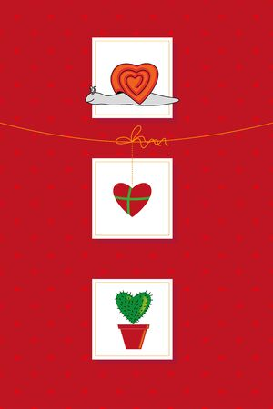 herz: red card for Valentine`s day  or birthday with hearts