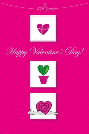 Pink card for Valentine`s day with hearts