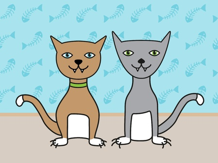 Two funny cats are sitting infront of a blue wall. Illustration