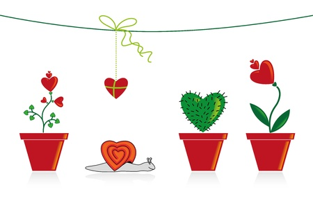 Illustration with hearts, flowers, snail, cactus in a pot and present.