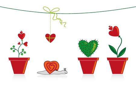 rothadó: Illusztráció szívek, virágok, csiga, kaktusz egy bankban és a jelen.