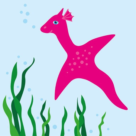 Pink, little Dinosaur is swimming in the water.