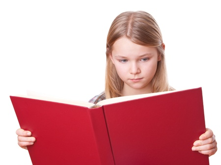 fair hair: girl is reading in a big red book