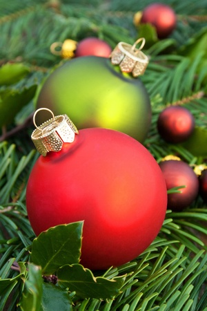 holydays: christmas tree balls with fir branches christmas decoration Stock Photo