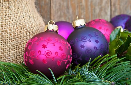 christmas tree balls and fir christmas decoration photo