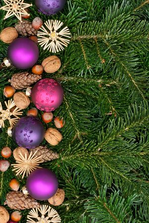 pinecones:  pink and purple christmas tree balls, nuts and fir branches