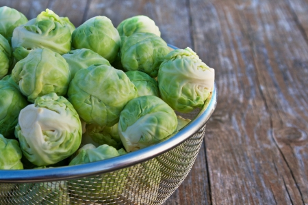 brussels sprouts: Brussels sprouts on wooden table Stock Photo
