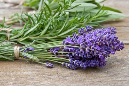 herb bouquet with lavender, rosemary, thyme, sage,
