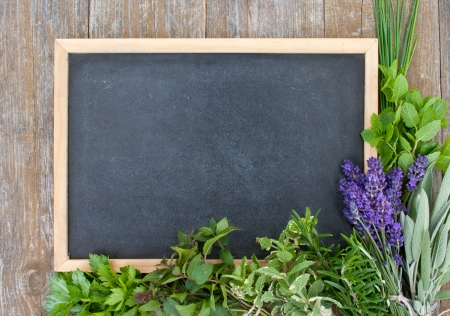 blackboard with lavender, rosemary, thyme, sage, salad burnet, cut Lach, tarragon, parsley, mint, celery, borage, lemon balm