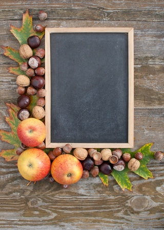 blackboard with apples, nuts and wooden background photo