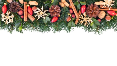 star border: fir branches with christmas decoration