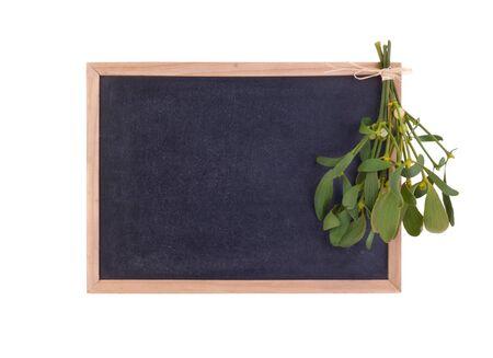 blackboard with mistletoe Stock Photo - 16682107