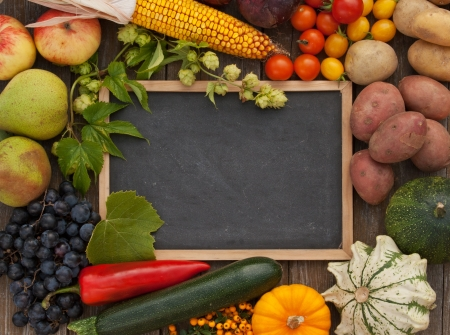 blackboard with fruits and vegetables