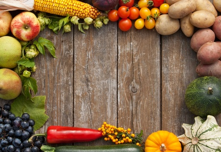 fruit harvest: frame with fruits and vegetables Stock Photo