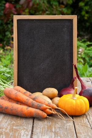 blackboard with vegetables