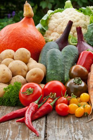 vegetables on wooden table Stock Photo - 16623790